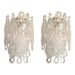 1970s Mid-Century Modern Clear Spaghetti Murano Glass Sconces by Mazzega - a Pair For Sale
