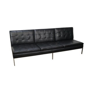 Florence Knoll Mid-Century Black Leather Armless Sofa For Sale