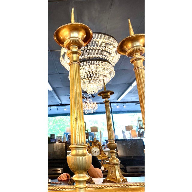 19th. Century Brass Cathedral Candlesticks - a Pair For Sale In Atlanta - Image 6 of 8