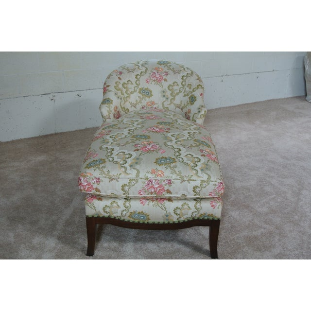 Traditional Vintage Floral Chaise Lounge For Sale - Image 3 of 7