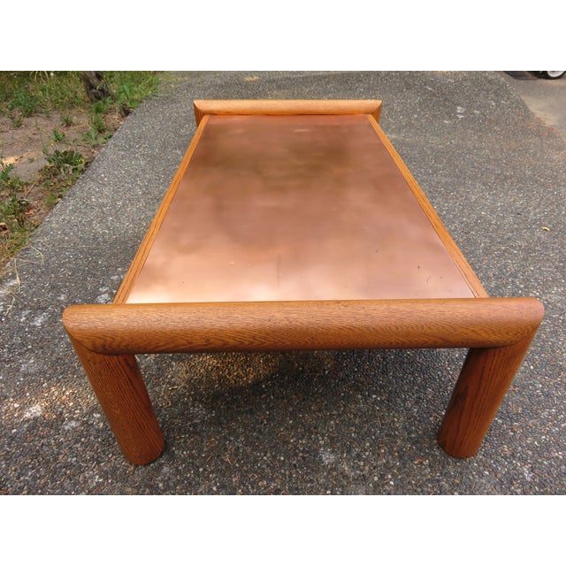 Vintage Modernist Oak & Copper Coffee Table - Image 6 of 6