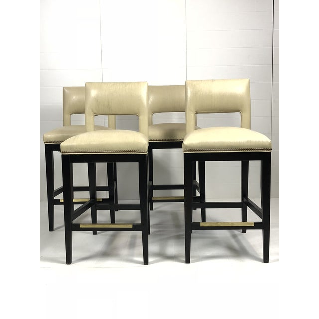 2010s Modern Eggshell Leather Barstools - Set of 4 For Sale - Image 5 of 12
