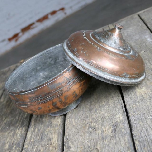 Copper Antique Turkish Copper Medium Sized Footed Bowl With Lid Hand Forged Incised Tinned For Sale - Image 7 of 13