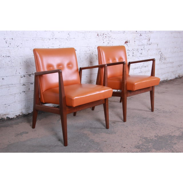 Wood Jens Risom Mid-Century Modern Sculpted Walnut Lounge Chairs, Pair For Sale - Image 7 of 12