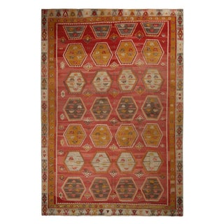 Vintage Anatolian Red and Beige Brown Wool Kilim Rug With Gold and Blue Accents For Sale