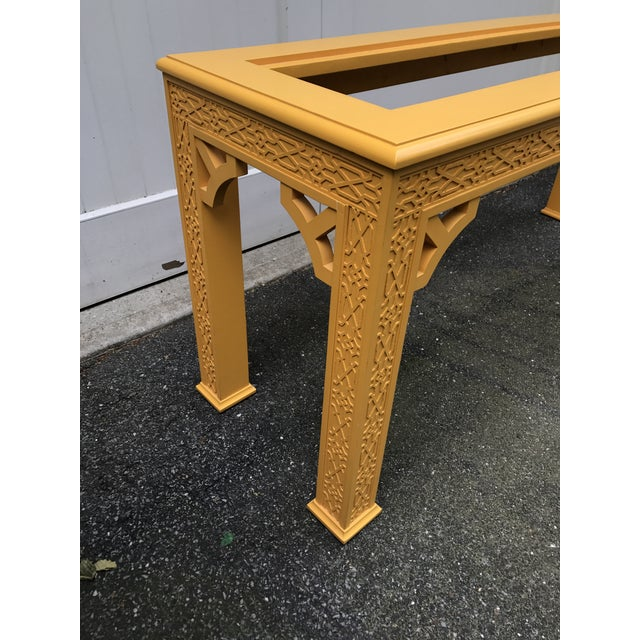 Mid 20th Century Vintage Fretwork Chinoiserie Console Table with Glass Insert For Sale - Image 5 of 10