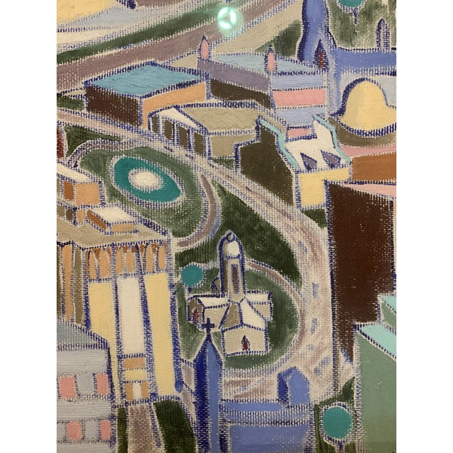 Mid 20th Century Vintage Mid-Century Modern Aerial Views Philadelphia Riverfront Neighborhoods Signed Framed Triptych Painting For Sale - Image 5 of 13