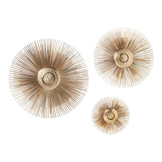 Mid-Century Style Brass Wall Ornaments - Set of 3 For Sale