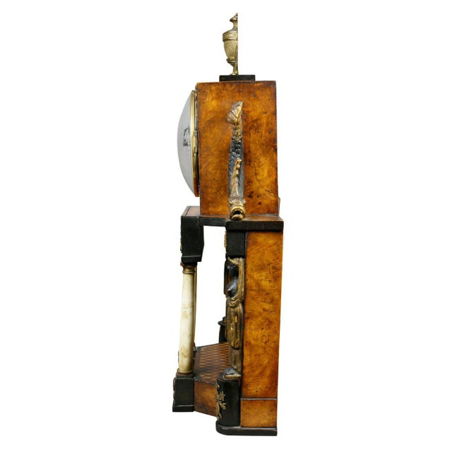 Gold Biedermeier Fruitwood and Ebonized Mantle Clock For Sale - Image 8 of 10