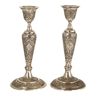 Sterling Silver Candlesticks, a Pair For Sale
