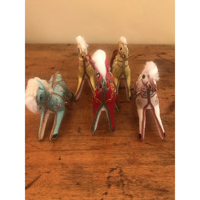 Blue 1970s Children's Embroidered Satin Horse Christmas Ornaments - Set of 5 For Sale - Image 8 of 10