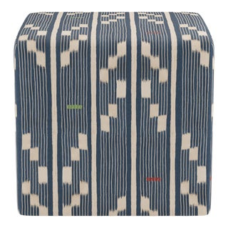 Cube Ottoman in Linea Ikat For Sale