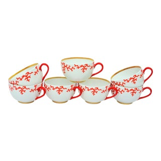 French Coral Limoges Raynaud Cristobal Teacups - Set of 7 For Sale