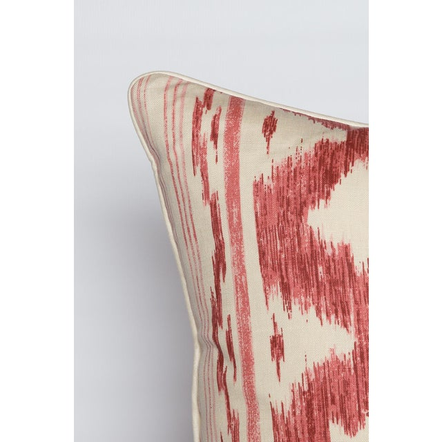 Garnet and Ivory Ikat Linen Pillows, Pair - Image 2 of 4