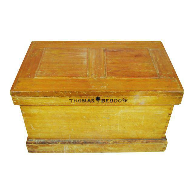 Vintage Wood Storage Trunk Chest   Image 2 Of 13