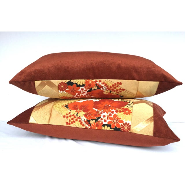 Vintage Japanese Gold & Rust Obi Pillows - A Pair - Image 6 of 7