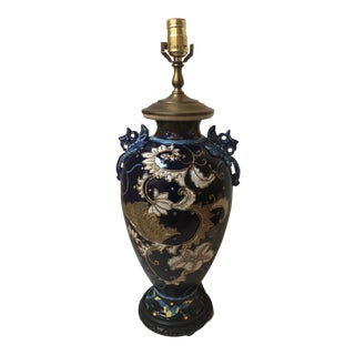 Asian-Style Ceramic Glazed Lamp For Sale