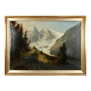 Circa 1900 Snowy Mountains Landscape Hudson River School Style Oil Painting, Framed For Sale