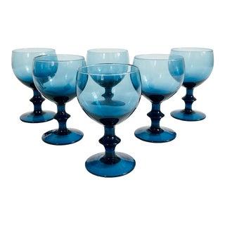 Vintage Blue Wine Glasses - Set of 6 For Sale