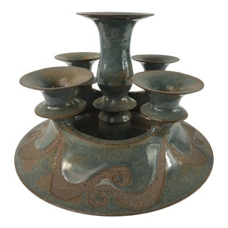 Mid-Century Studio Pottery Signed Candle Holder Centerpiece For Sale