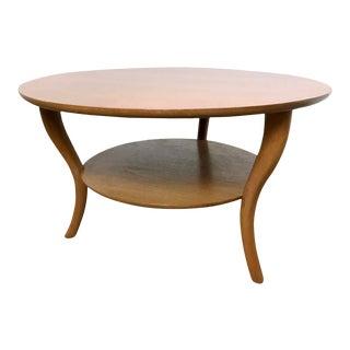 1950s t.h. Robsjohn Gibbings Saber Leg Walnut Coffee Table For Sale