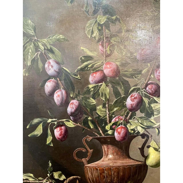 """Frank Arcuri, Still Life Oil on Canvas. Framed. """"Small Feast With Figs"""" 1999 For Sale - Image 9 of 13"""
