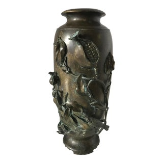 Antique Japanese Bronze Baluster Vase Urn Meiji Period For Sale