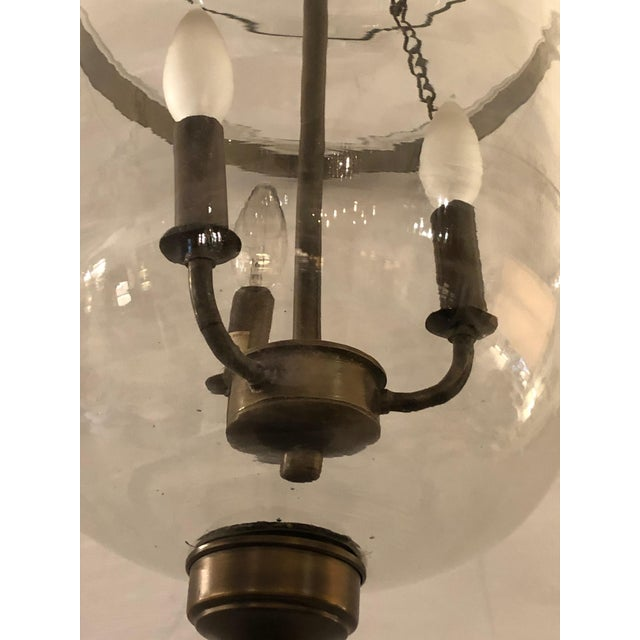 1970s Bell Glass Lantern Chandelier Pendant With Bronze Finish For Sale - Image 5 of 7