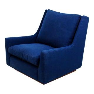 Mid Century Modern Rare Milo Baughman Wood Plinth Base Lounge Accent Chair 1970s For Sale