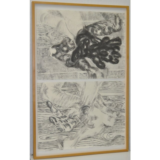 1980's Frank Van Hermert Diptych Drawings - Image 2 of 5
