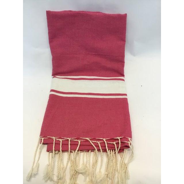 Pink Striped Tunisian Hammam Towel - Image 3 of 3