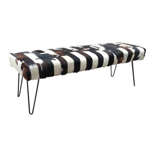 21st Century Vintage Hytower Cowhide Bench For Sale