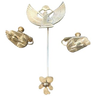 Miriam Haskell Egyptian Revival Stick Pin & Earrings Ca 1970 For Sale