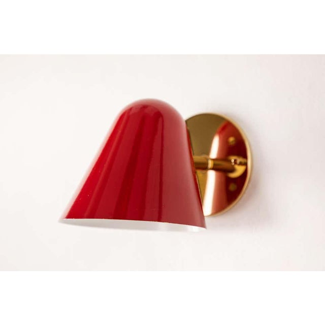 1950s Jacques Biny Red Wall Lights - a Pair For Sale - Image 10 of 13