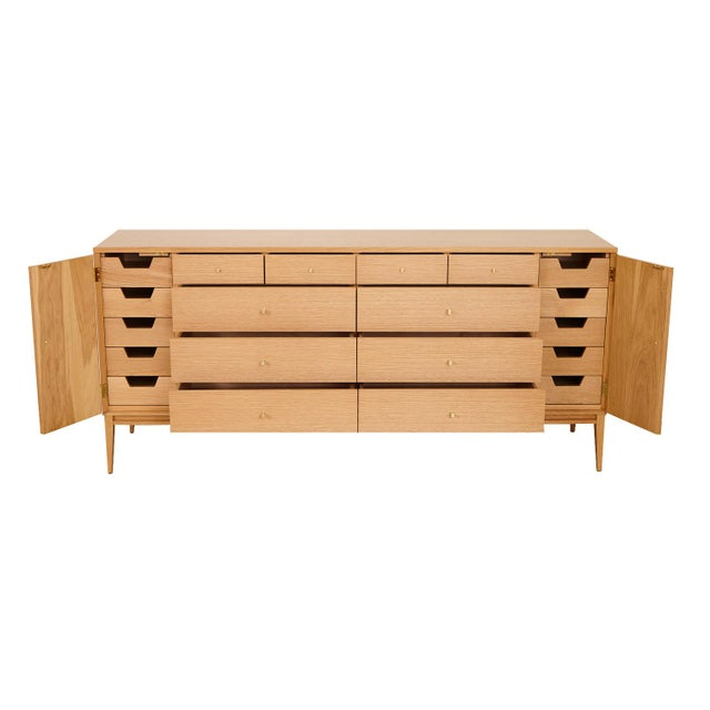 Trapp White Rift Oak 20-drawer dresser. Dresser features ten exterior drawers with ten interior small drawers behind left...