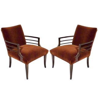 1940s Art Deco Mohair and Walnut Armchairs - a Pair For Sale
