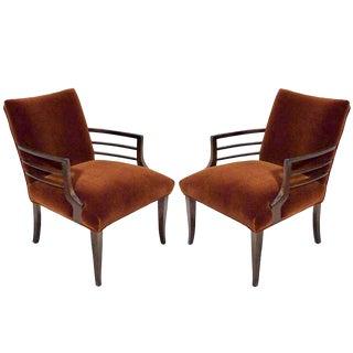 1940s Art Deco Mohair and Walnut Armchairs - a Pair