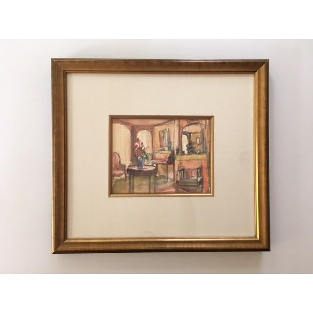 Charming watercolor in a soft palette depicting a parlor or living room. Finished in a gilded frame with linen mat and...