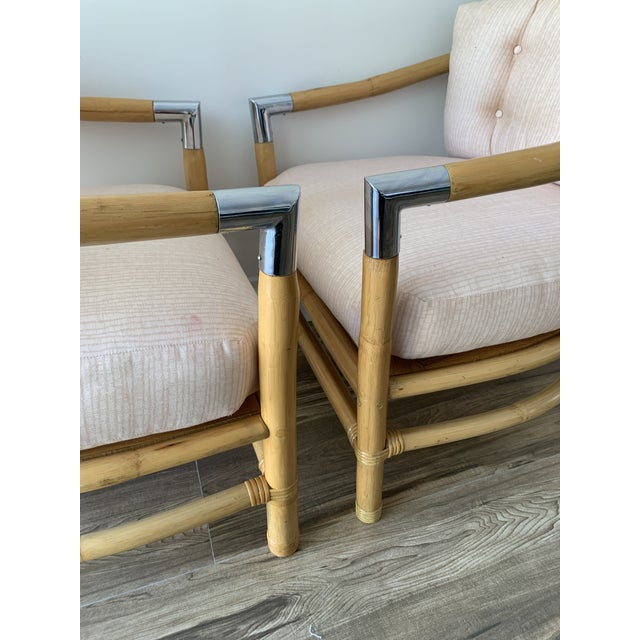Bamboo and Chrome Lounge Chairs- A Pair For Sale - Image 4 of 12