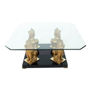 Mid 20th Century Metal Chinoiserie Foo Dog Coffee Table For Sale