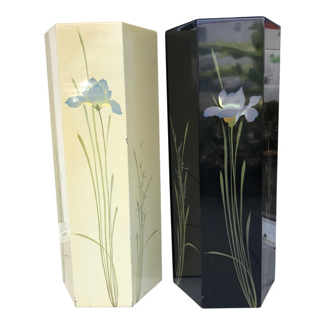 Oriental Hand Painted Pedestals - A Pair For Sale