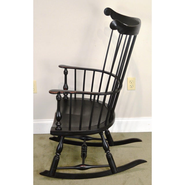 1990s Custom Crafted Distressed Black Painted Windsor Rocker Rocking Chair For Sale - Image 5 of 13