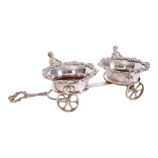 Vintage English Silver Plate Wheeled Carriage Drinks / Decanter Holder For Sale