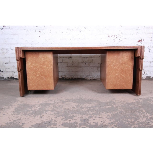 Pierre Paulin for Baker Furniture Bird's-Eye Maple and Walnut Inlay Art Deco Executive Desk For Sale - Image 11 of 13