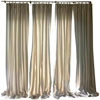 Custom Curtains in Kravet Stripe - Set of 4 For Sale