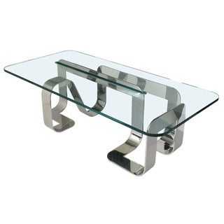 "Rare Sculptural Polished Steel ""Jason"" Coffee Table by Gary Gutterman For Sale"