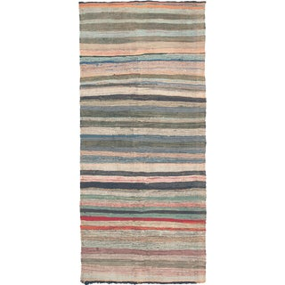 Mid 20th Century Moroccan Rag Rug- 4′7″ × 10′5″ For Sale