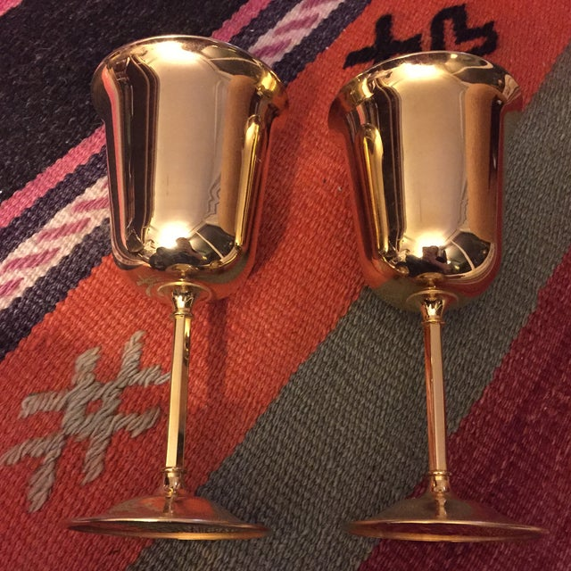 Gilt Brass Wine Glasses- A Pair - Image 2 of 6