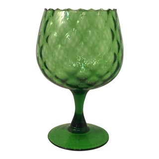 1950s Vintage Empoli Glass Art Emerald Green Compote Vase For Sale