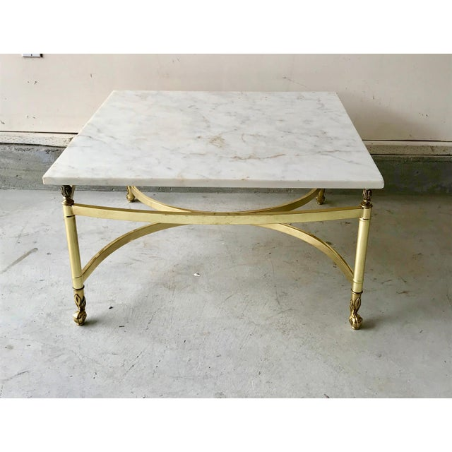 Brass 1970s Hollywood Regency Brass and Marble Coffee Table For Sale - Image 7 of 7